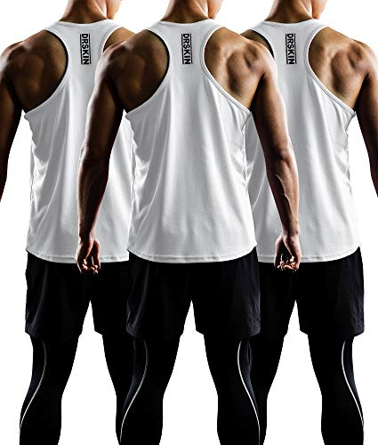 - DRSKIN Men's 3 Pack Dry Fit Y-Back Gym Muscle Tank Mesh Sleeveless Top Fitness Training Cool Dry Athletic Workout (BTF-ME-TA-(W,W,W), 2XL)