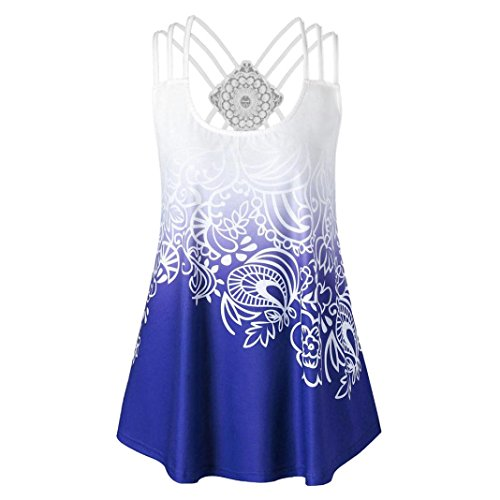 Lace Top Ribbed Tank (vermers Women Tank Tops Fashion Bandages Sleeveless Vest Lace Strappy Print Tank Tops (XL, Blue))