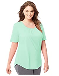 Just My Size Womens Shirred Scoop-Neck Jersey Tee
