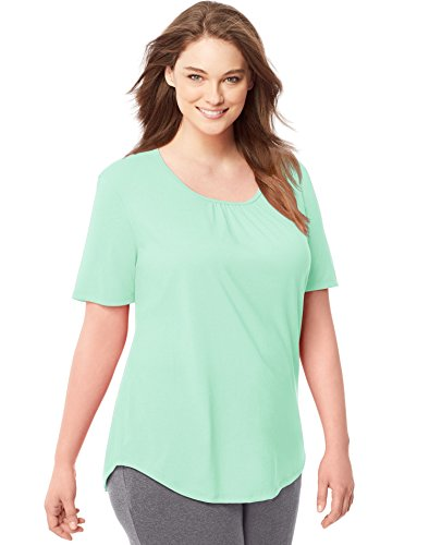 (Just My Size Womens Shirred Scoop-Neck Jersey Tee, 3X, Opaline Green)