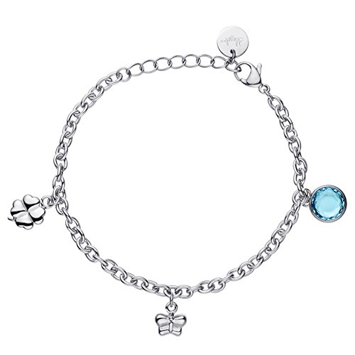 MEGIDESI Charm Bracelet with Adjustable Stainless Steel Chain Bracelets Gift for Women Girls - with Lovely Butterfly - Cute Clover - Blue Glass Stone