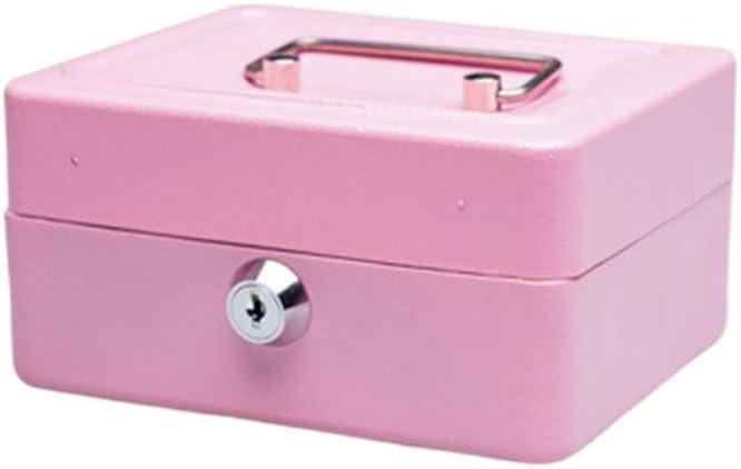 Caja de almacenamiento portátil de metal para dinero en casa, con llaves de bloqueo cilíndrico, 15 x 11,9 x 7,7 cm, color rosa