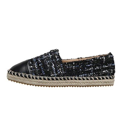 Cher Temps Glisser Sur Espadrilles Casual Femmes Mocassins Chaussures Plates Noir