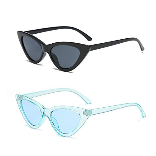 YOSHYA Retro Vintage Narrow Cat Eye Sunglasses for Women Clout Goggles Plastic Frame (Black Grey + + Clear Blue/Blue)
