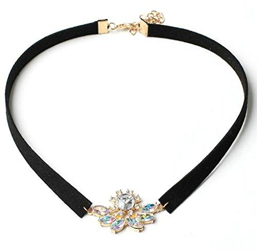 Gnzoe Retro Punk Flower CZ Velvet Collar Choker Necklace for Women Length 38+7CM Adjustable