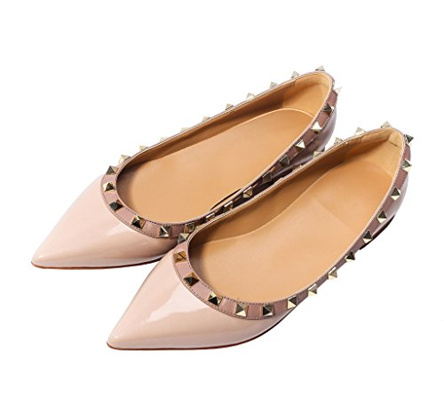 Katypeny Womens Rivet Stud Slip On Pointed Toe Loafers Flat Shoes Nude Patent PU Leather Size 7 EU37