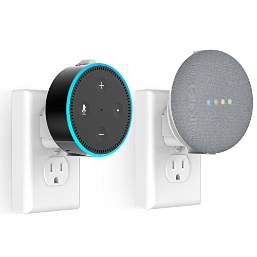 Outlet Wall Mount Hanger Stand for Google Home Mini and Dot 2nd Generation, Clean and Space-Saving for Your Smart Home Speakers with no Messy Wires or Screws - White