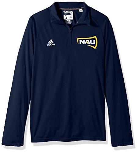 adidas NCAA Northern Arizona Lumberjacks Adult Men Sideline Basic Logo Ultimate L/S 1/4 Zip Pullover, Large, Collegiate Navy