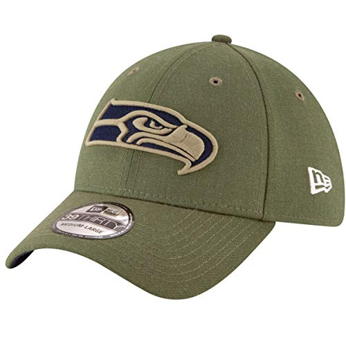 New Era Mens NFL 2018 Salute to Service 39Thirty Flex Fit Hat (Small/Medium, Seattle Seahawks)