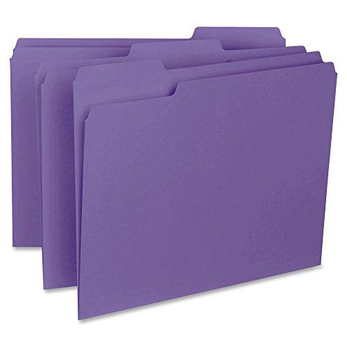 Business Source 1/3-cut Purple Interior File Folders
