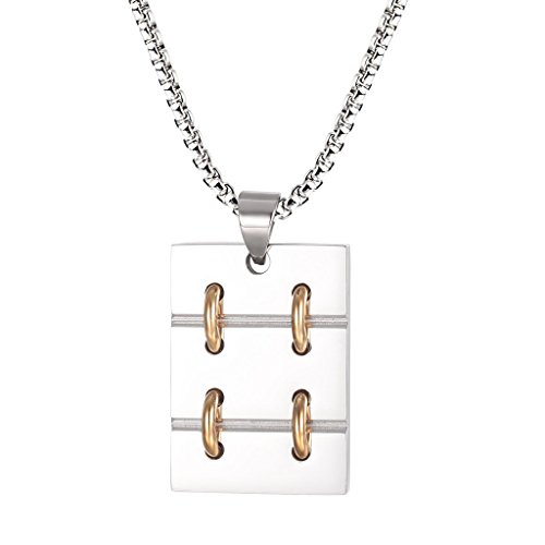 Lanroque Men's Stainless Steel Two-Tone Dog Tag Gothic Pendant Necklace, 24