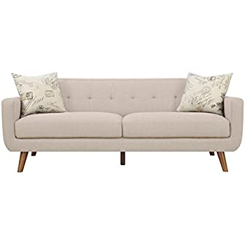 Emerald Home Furnishings Remix Sofa Beige With 2 Accent Pillows, Standard,  Maple Leg Finish