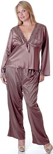 Women's Plus Size Matte Satin Pajama Set #2082x (2X, (Matte Satin Pants)