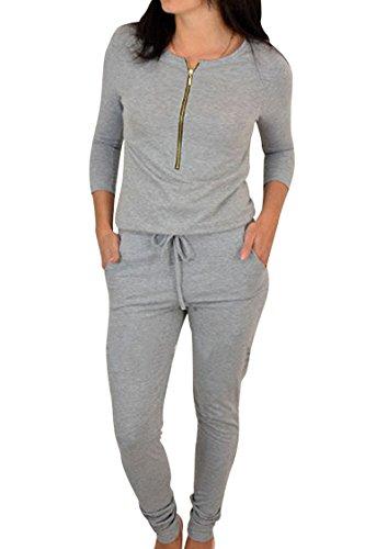 Fixmatti Women Fashion 3/4 Sleeve Zip up Drawstring Long Romper Jumpsuit