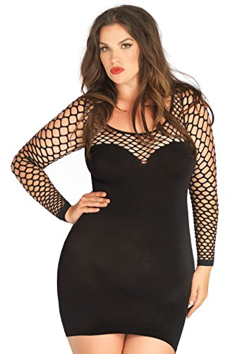 Leg Avenue Women's Plus Size Seamless Mini Dress with Diamond Net Bodice and Sleeves, Black, One Size