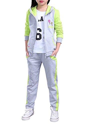 - Kids Long Sleeves Baseball Sweatshirt Hoodie Jacket & Jogger Sweat Pants Track Set Tracksuit Outfit Sportswear Sweatsuit for Little & Big Girls, Green/Grey 4-5 Years(4T-5T) =Tag 120