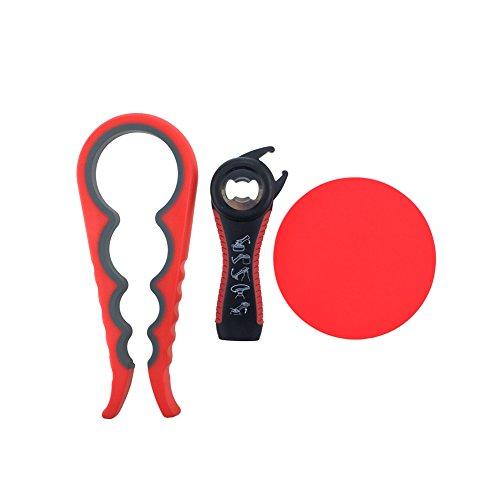 Arstec Jar Bottle Opener Non Slip Jar Gripper Pad - Rubber Jar Can Lid Opener for Weak, Senior, Arthritis Hands (Red)