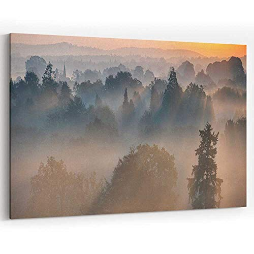 (Actorstion Dawn Mist in The Surrey Hills Canvas Art Wall Dcor Home Decor Stretched-Framed Ready to Hang)
