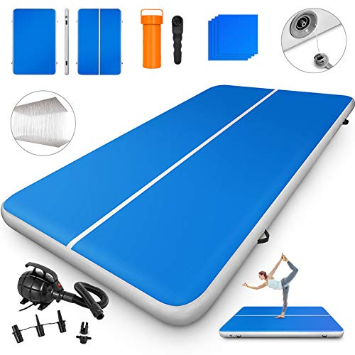 Happybuy 10ft 13ft 16ft 20ft 23ft 26ft 30ft Air Track 8 inches Airtrack 4 inches Inflatable Air Track Tumbling Mat for Gymnastics Martial Arts Cheerleading Tumble Track with Pump Blue 10ft 80x8in