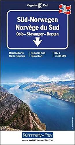 Karte Südnorwegen.Kümmerly Frey Karten Süd Norwegen Oslo Stavanger Bergen