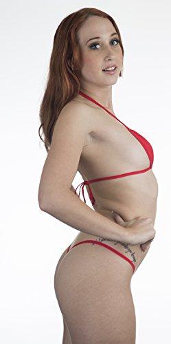 a4b0a1875b982 Red Sexy Mini Teardrop Bikini 2pc Micro G-String Exotic Minimal Cover  Extreme