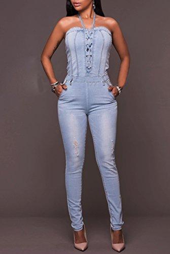 Tutine Bodysuits Playsuit Donna Azzurro Sexy Monopezzi E Rompers Maniche Skinny Pantaloni Senza qZ81xOB