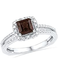 Solid 925 Sterling Silver Princess Cut Round Chocolate Brown Simulated Smoky Quartz And White Diamond Engagement Ring OR Fashion Band Prong Set Solitaire Shaped Halo Ring (3/4 cttw)