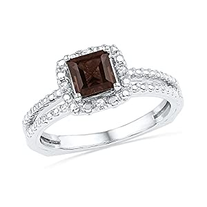 Size - 8.5 - Solid 925 Sterling Silver Princess Cut Round Chocolate Brown Simulated Smoky Quartz And White Diamond Engagement Ring OR Fashion Band Prong Set Solitaire Shaped Halo Ring (3/4 cttw)