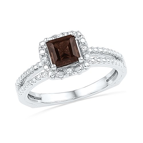 Size - 6 - Solid 925 Sterling Silver Princess Cut Round Chocolate Brown Simulated Smoky Quartz And White Diamond Engagement Ring OR Fashion Band Prong Set Solitaire Shaped Halo Ring (3/4 cttw) Bar Set Engagement Ring