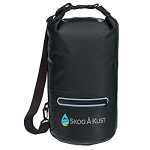 DrySak Premium Waterproof Dry Bag with Exterior Zip Pocket | Keeps Gear Safe & Dry During Watersports & Outdoor Activities | Rugged 500D PVC with Shoulder Strap & Reflective Trim | 20L Black