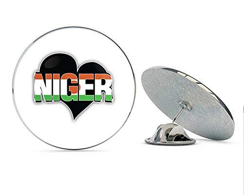 """Niger Art Heart Flag Travel Slogan Round Metal 0.75"""" Lapel Pin Hat Shirt Pin Tie Tack Pinback"""