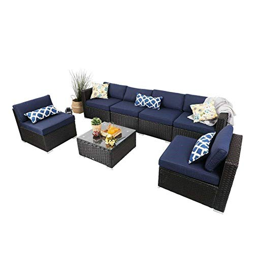 PHI VILLA 7 Piece Outdoor Furniture Patio Sectional Sofa Conversation Sofa Set with Rattan Wicker, Navy-Blue