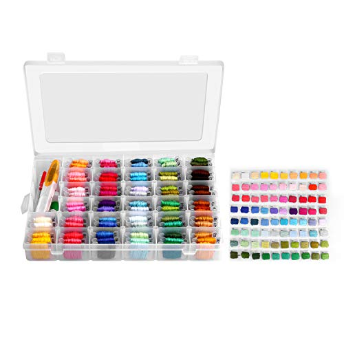 Embroidery Floss with Organizer Storage Box - 96 Colors Friendship Bracelets String Embroidery Thread with Number Stickers and Plastic Floss Bobbins - Rainbow Cross Stitch Kits by Alloyseed