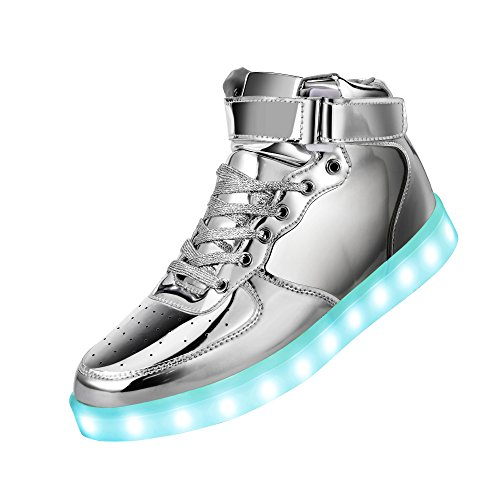GreatJoy Fashion High Top LED Shoes Light Up Sneaker 7 Color Flashing/USB Charge/Halloween/Christmas/Thanksgiving Gift(6B(M) US-Women/4.5D(M) US-Men, Silver) -