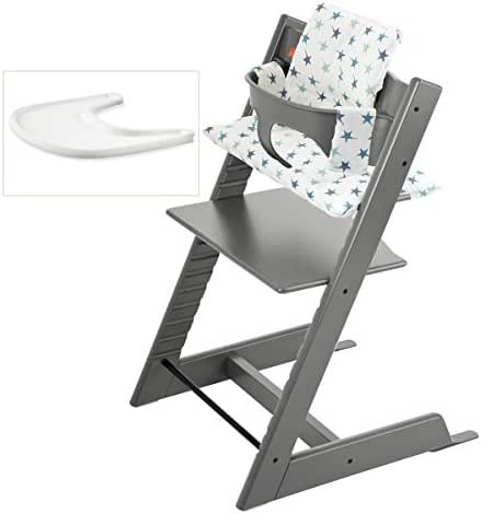 Stokke Tripp Trapp High Chair Complete 4-Piece Bundle (Aqua Stars)