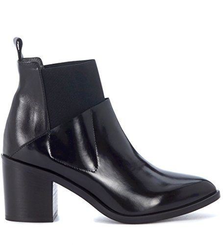 Black Women's Leather Black Ankle Fiori Boots Francesi 6wEqwg7