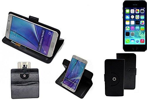 Case 360° Cover pour Smartphone Apple iPhone 5s, noir | Fonction Stand Case Wallet BookStyle meilleur prix, la meilleure performance - K-S-Trade (TM)