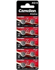 Camelion, 12051010, alkaline knoopcellen zonder kwik, AG10/LR54/LR1130/389, 1,5 volt, verpakking van 10 stuks, veelkleurig