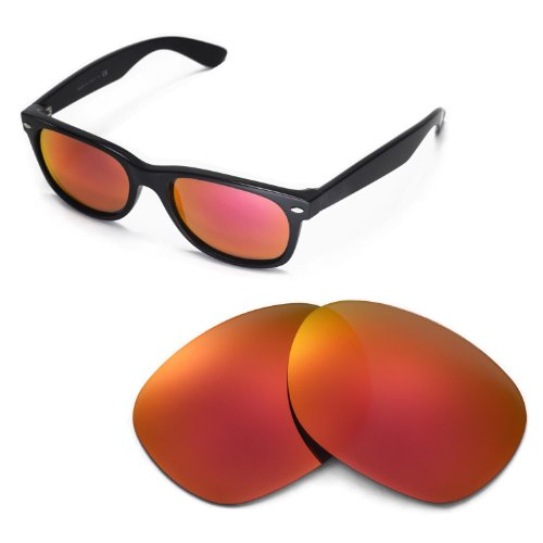 Walleva Replacement Lenses for Ray-Ban Wayfarer 2132 55mm - Myltiple Options Available(Fire Red - - Ray Wholesale Bans