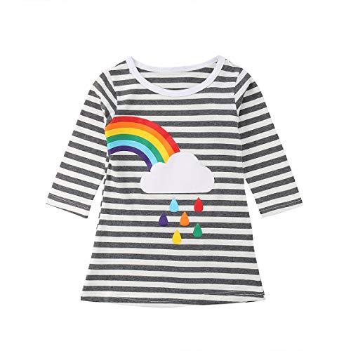 Foerverlonely Toddler Kids Baby Girls 3/4 Sleeve Striped Rainbow Casual T Shirt Dress Left Rainbow 110/2-3T (Sleeve 3/4 Birthday)