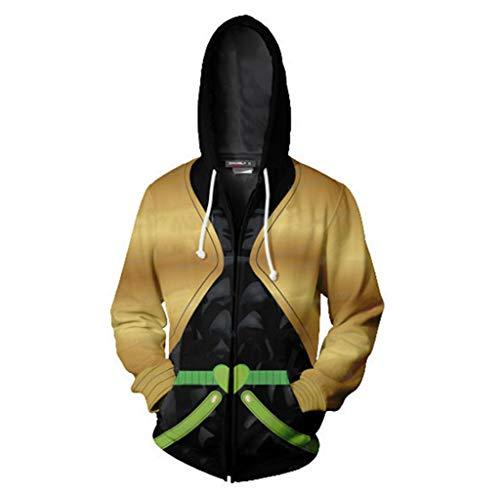 (COSEASY JoJo's Bizarre Adventure Jotaro Kujo Hooded Sweater Zipper Kujo Jotaro Hoodies Jacket Costume Unisex (Medium, Yellow))