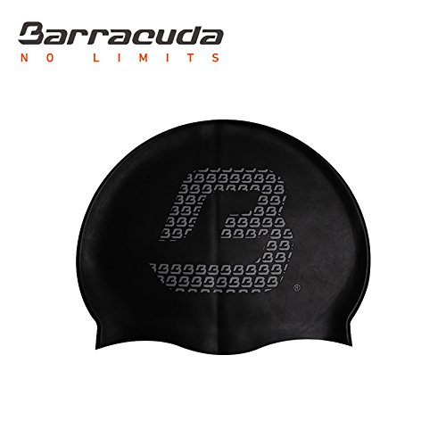 Barracuda Accessories FLAT SILICONE CAP (Big B Logo) - Solid color, Waterproof silicone, Professional for adults men women (Black)