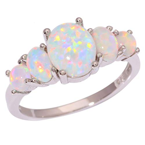 MARRLY.H White Fire Opal Rings with Oval Big Stone Silver Plated Wedding Engagement Minimalist Bohemia Jewelry White 8