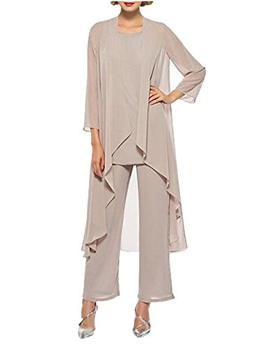 Champagne Chiffon Pant Suits Mother of The Bride 3 Pieces Long Jacket US24