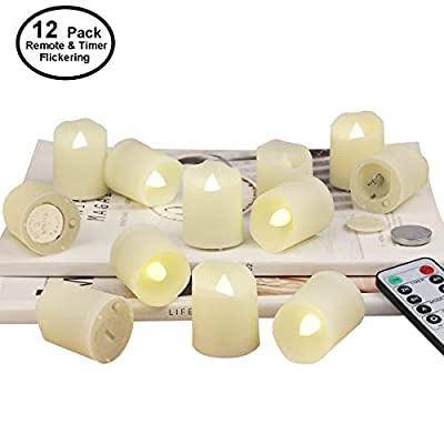 Tea Lights Battery Operated Candles with Remote Flameless Votive Candle LED Tea Light with Timer, Realistic Flickering Tealights Fake Candle Holiday Decoration Battery Remote Candles (12 Set x 1.3