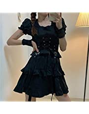 Mcttui Lolita kleding Lolita Jurk Streetwear Shirt Dames Gothic Lolita Jurk Goth Punk Gothic Harajuku Mall Goth Style Bandage Black Dress Puff Sleeve Jurk