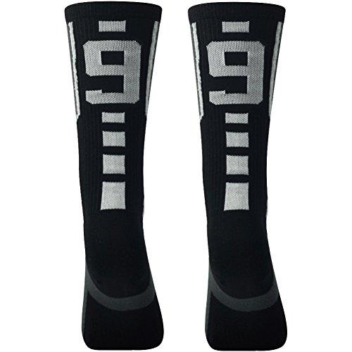 Custom Number Socks,Comifun Adult Football Baseball Lacrosse Athletic Sports Training Jersey Number Socks Black/White,Medium,1 Pair,