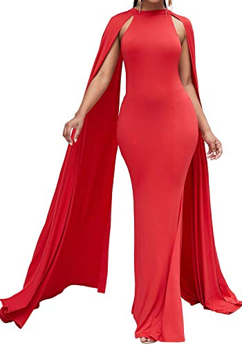 Bodycon4U Women's Elegant Long Mermaid Formal Gown Prom Evening Dresses with Cape Red M