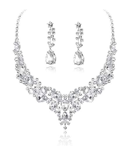 (Fiasaso 2 Pcs Crystal Bridal Jewelry Set for Women Rhinestone Necklace Earrings Bracelet Wedding Bridesmaid)