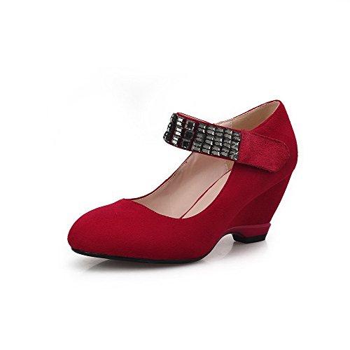 Amoonyfashion Womens Frosted Round Closed Toe Kitten-hakken Hak En Lus Stevige Pumps-schoenen Rood